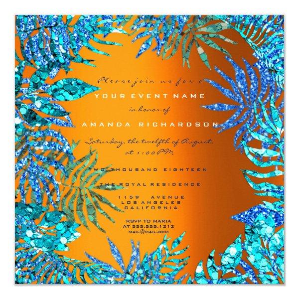 Tropical Fern Leaf Beach Ocean Blue Orange Glitter Card