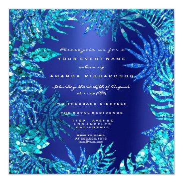 Beach Themed Tropical Fern Leaf Frame Ocean Blue Indigo Glitter Card