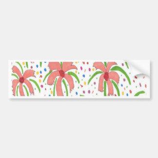 Tropical Fiesta Flowers Bumper Sticker