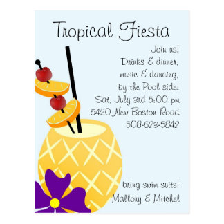 Tropical Fiesta Pool Party Invite Postcard
