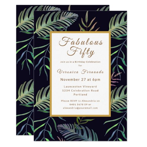 Tropical fiftieth green gold birthday party invitation