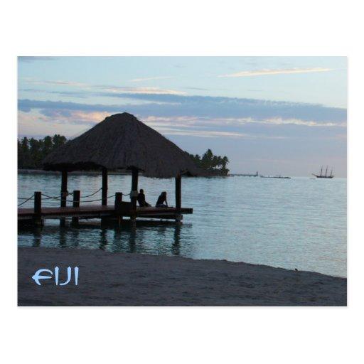 Tropical Fiji Thatched Roof Gazebo Postcard