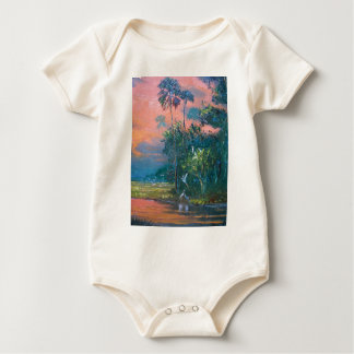 Tropical Fire sky Over the Pond Baby Bodysuit