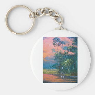 Tropical Fire sky Over the Pond Keychain