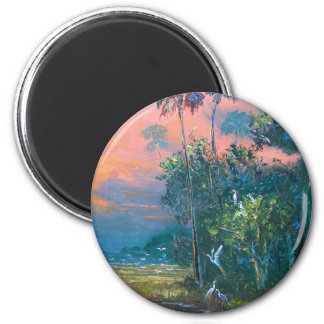 Tropical Fire sky Over the Pond Magnet