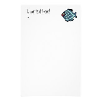 Tropical Fish-01 Turquoise Aqua with Pattern. Stationery Paper