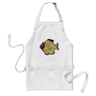 Tropical Fish-04 Green and Gold Pattern Adult Apron