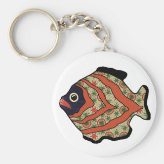 Tropical Fish-07 Tomato Red & Olive Green Pattern Keychain