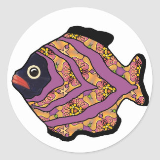 Tropical Fish-14 Maroon with Gold Pattern Classic Round Sticker