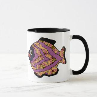 Tropical Fish-14 Maroon with Gold Pattern Mug