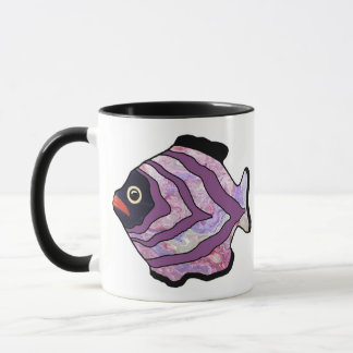 Tropical Fish-15 Purple with Marble Pattern Mug
