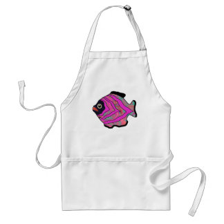 Tropical Fish-16 Cerise Pink Orange Aqua Adult Apron