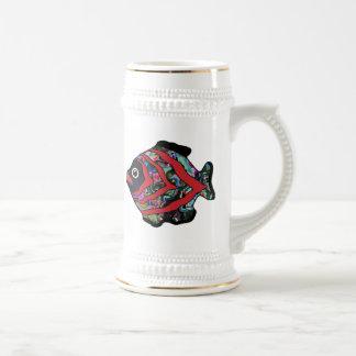 Tropical Fish-17 Dark Red with Graffitti Pattern Beer Stein