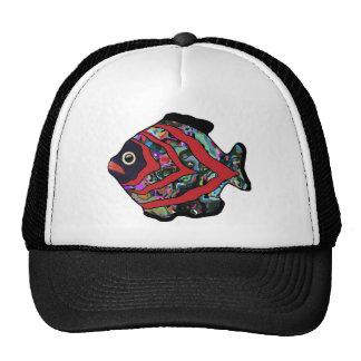 Tropical Fish-17 Dark Red with Graffitti Pattern Trucker Hats
