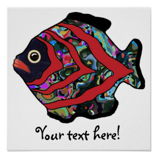 Tropical Fish-17 Dark Red with Graffitti Pattern Poster