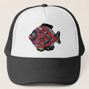 Tropical Fish-17 Dark Red with Graffitti Pattern Trucker Hat 41beb68c2391