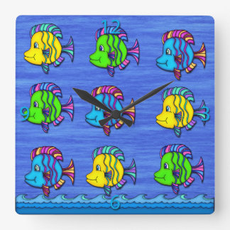 Tropical Fish 1 Square Wall Clock