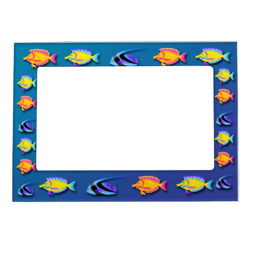 Tropical fish 2 magnetic frame zazzle for Fish photo frame