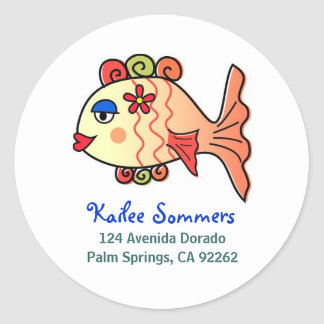 Tropical Fish Address Labels Classic Round Sticker