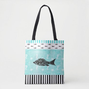Beach Themed Tropical Fish and Seahorse Nautical Tote Bag