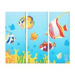 Tropical fish Aquarium 3 Panel art Stretched Canvas Prints