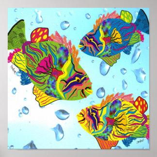 Tropical Fish Art Poster, Whimsical Fish