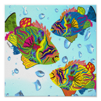 Tropical Fish Art Poster, Whimsical Fish Poster