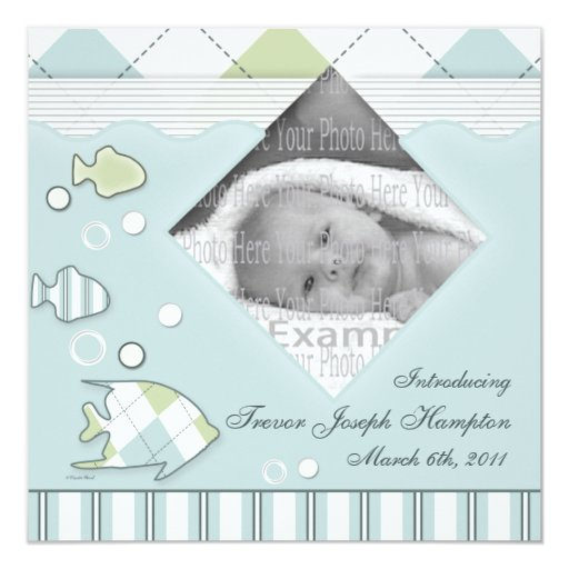 Tropical Fish Baby Annoucement Boy 5.25x5.25 Square Paper Invitation Card