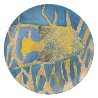tropical fish beach art dinner plate