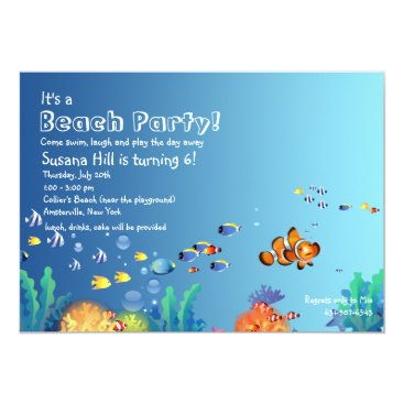 Beach Themed Tropical Fish Beach Birthday Party Invitation