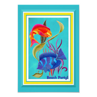 Tropical Fish Beach Party Customizable Event Card