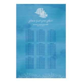 Tropical fish beach wedding dinner seating chart