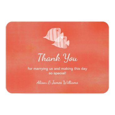 Beach Themed Tropical fish beach wedding thank you card