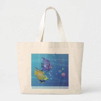 TROPICAL FISH & BUBBLES by SHARON SHARPE Jumbo Tote Bag