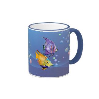 TROPICAL FISH & BUBBLES by SHARON SHARPE Ringer Coffee Mug