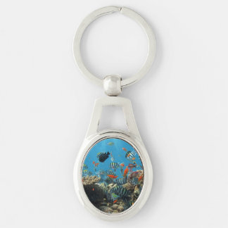 Tropical Fish Chaos Silver-Colored Oval Metal Keychain