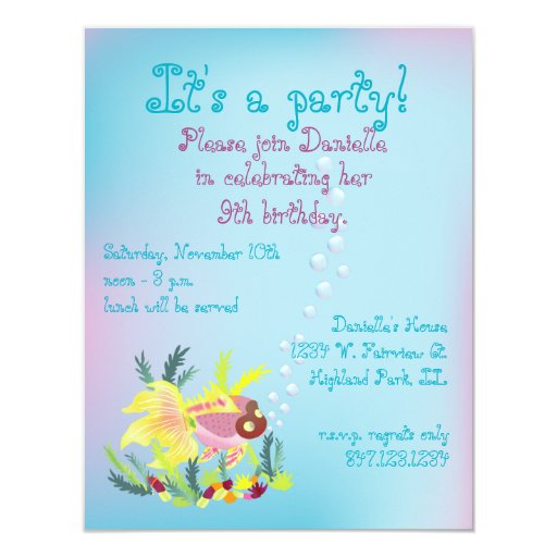 Tropical Fish Child's Birthday Party Invitation