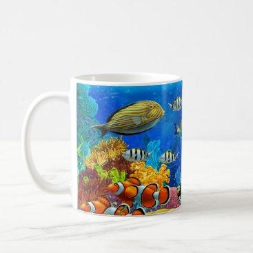 Coffee Themed Tropical Fish Clownfish Design Coffee Mug Cup