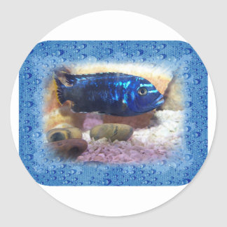 Tropical Fish Digital Watercolor Classic Round Sticker