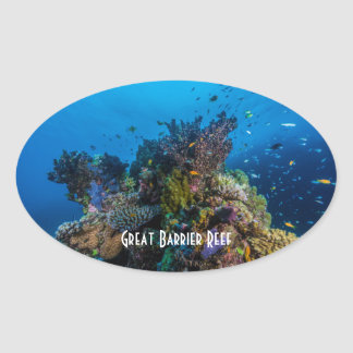 Tropical Fish Great Barrier Reef Coral Sea Oval Sticker