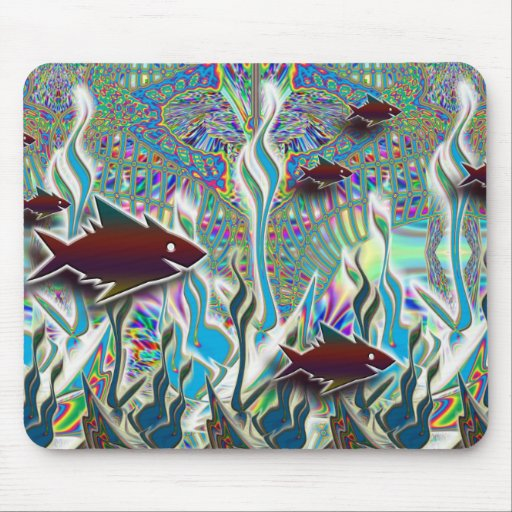 Tropical Fish in a Fantasy Garden Mouse Pads