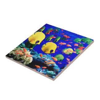 Tropical Fish in Coral Sea Tiles