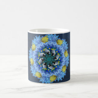 Tropical Fish Kaleidoscope in Blues and Yellows Coffee Mug