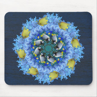 Tropical Fish Kaleidoscope in Blues and Yellows Mouse Pad