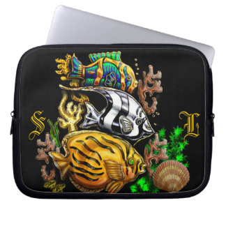 Tropical fish laptop sleeves