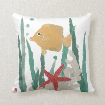 Beach Themed Tropical Fish Nautical Style Pillow