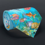 """Tropical Fish Neck Tie<br><div class=""""desc"""">Watercolor underwater scene with colorful fish in the depths of the ocean</div>"""