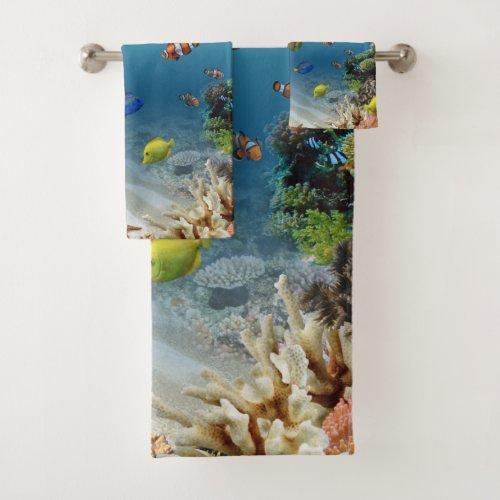 Tropical Fish Ocean Underwater Scene Bath Towel Set