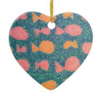 Tropical Fish Painted Pattern Ceramic Ornament
