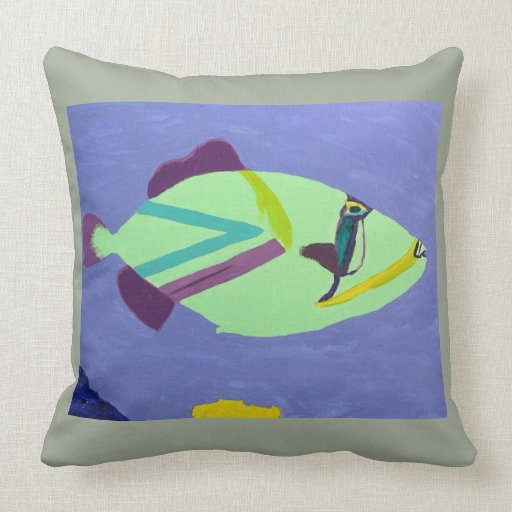 Tropical fish painting cotton throw pillow zazzle for Fish throw pillows